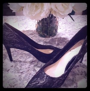 Jessica Simpson Black Lace Heels Pumps NIB